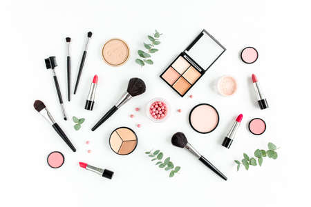 Professional decorative cosmetics, makeup tools on white background. Flat composition beauty, fashion. flat lay, top view
