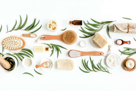 Spa concept with eucalyptus oil and eucalyptus leaf extract natural organic spa cosmetics products eco friendly bathroom accessories.Skincare concept