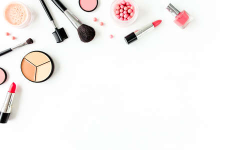 Professional decorative cosmetics, makeup tools on white background with copy space for text. Flat composition beauty, fashion. flat lay, top view