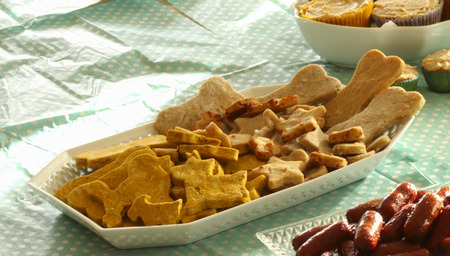 Homemade gluten-free dog treats that are peanut butter/pumpkin flavor and cheese flavor