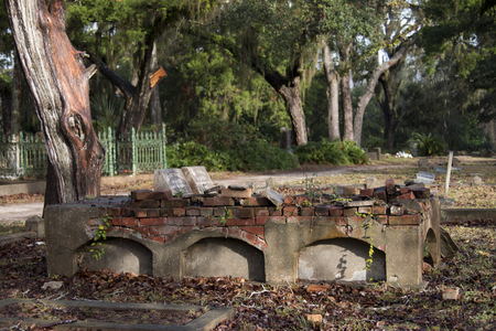Dilapidated tomb in graveyard with spanish moss Banco de Imagens