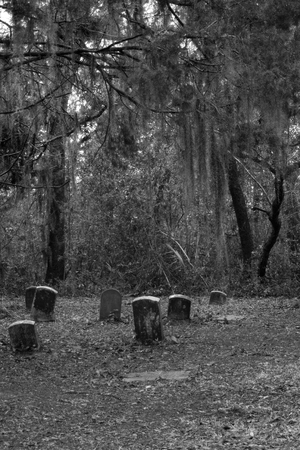 Black and white cemetery with standing headstones Banco de Imagens