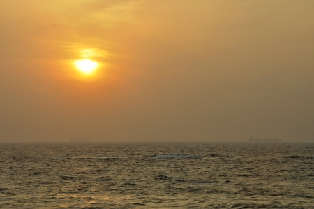 Sunset at the Indian ocean in Sri Lanka photo