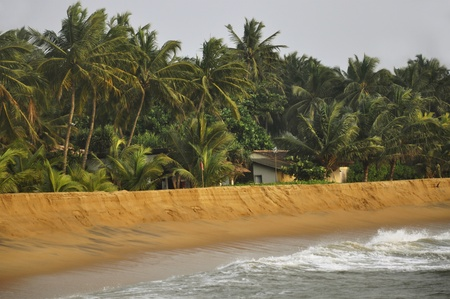 A windy day at a beautiful beach in Kalutara, Sri Lanka photo