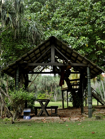 wooden hut: A traditional wooden hut at a spice garden in Sri Lanka Stock Photo