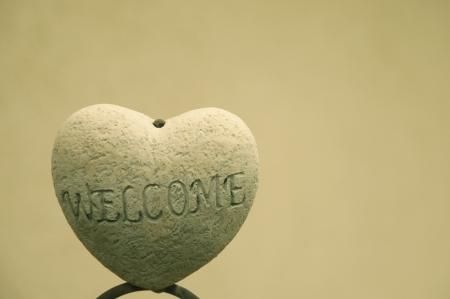 welcome sign: Un signe ext�rieur d'une maison Bienvenue