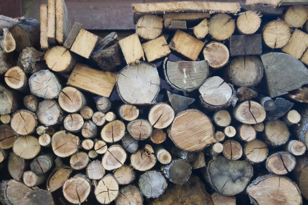 Logs of wood stacked in Vevey, Switzerland Stock Photo - 20301240