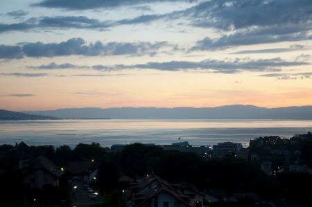 vevey: A Beautiful Sunset over Vevey, Switzerland