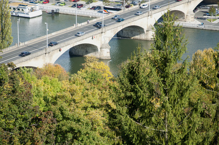 main river: Bridge over The Main River in Wuerzburg, Germany Stock Photo