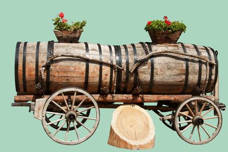 Wine Barrels in Aigle, Switzerland Isolated on Hemlock photo