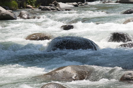 downstream: The Beas River Flowing Downstream in Manali, India