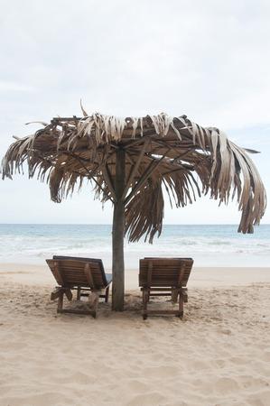 sunbeds: Two Sunbeds at Tangalle Beach, Sri Lanka