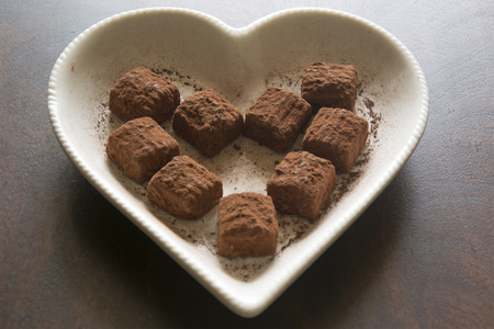 sinful: Swiss Chocolate Truffles on a Heart Shaped Plate