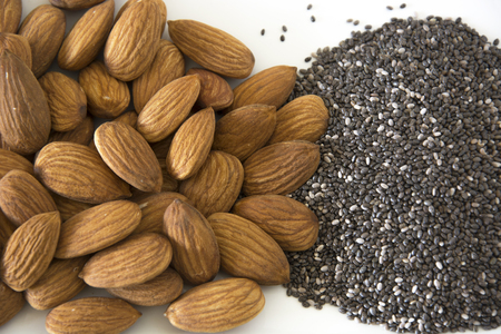 Almonds and Chia Seeds Stock Photo