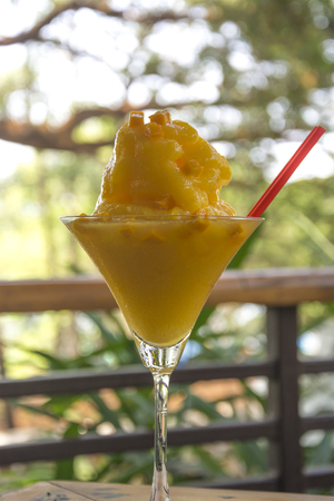A Glass of Frozen Mango Daiquiri at a Sunday Brunch in Goa Stock Photo