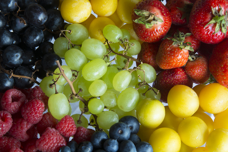 A Serving of a Variety of Colourful, Fresh Summer Fruits in Germany, Europe Stock Photo