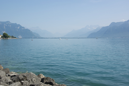 A view of Lake Geneva (or Lac L�man) in the summertime
