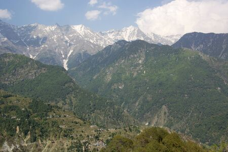 A beautiful view of the Dhauladhar Himalayan Range on a clear day at Kareri, Himachal Pradesh, India