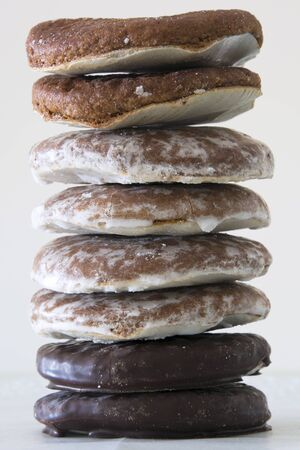 A tower of an assortment of plain, frosted and chocolate Oblatenlebkuchen (or Gingerbread) in Germany Reklamní fotografie