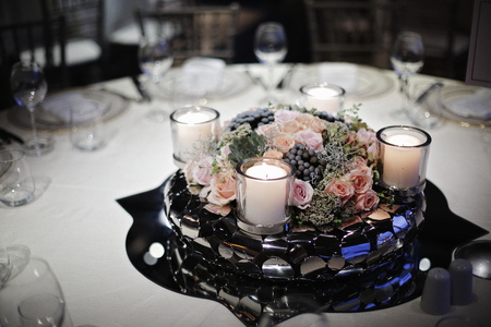 Wedding Guest Dining Table Decorations, Wedding Ceremony Dinner Stock Photo