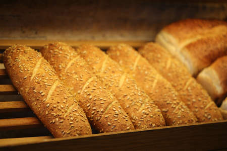 Grain corn bread on the shelf, Bakery Products, Pastry and Bakery