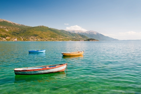 Fishong boats on lake, Ochrid, Macedonia Stock Photo