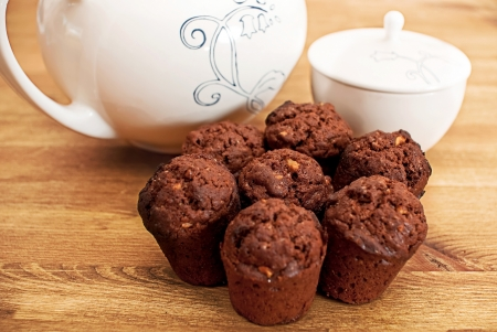 Muffins en dishies Stockfoto