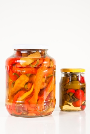 Two jars of paprika Stock Photo