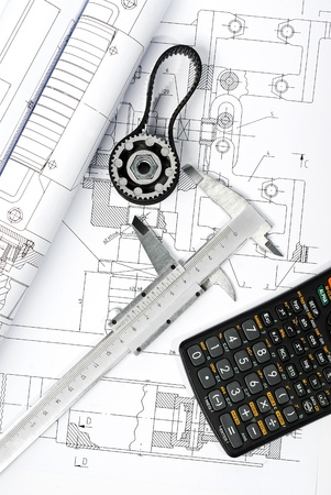 calculator and caliper blueprint vertical  Stock Photo