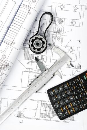 calculator and caliper blueprint vertical  Stock Photo