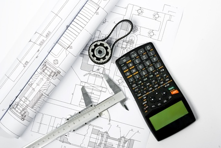 gear and caliper blueprint horizontal with  Stock Photo