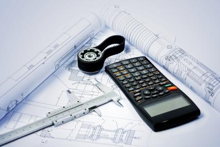 gear and caliper on blueprint