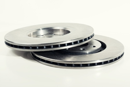 Two brake discs isolated on white