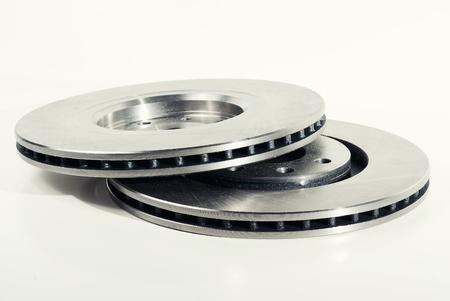 Two brake discs isolated on white
