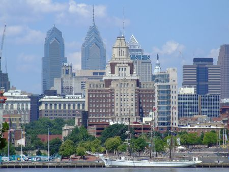 Philadelphia Skyline from New Jersey side Stock Photo
