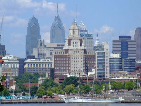 Philadelphia Skyline from New Jersey side Stock Photo