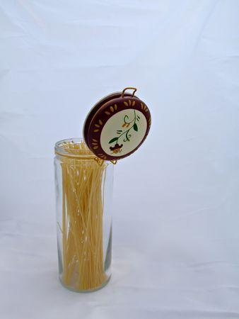 Pasta in Open Jar Stock Photo