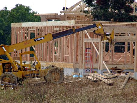 New home under construction - framing process