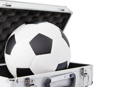 bronz: New football in open bronz color suitcase on white background Stock Photo