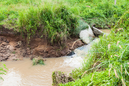 degradation: Weir in the area of cultivation, water erosion through the cultivated area, soil degradation Stock Photo