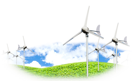 Eco power, wind turbines generating electricity against partly cloudy blue sky and grassland, green earth concept