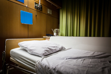 Clean empty sickbed in a hospital ward at night