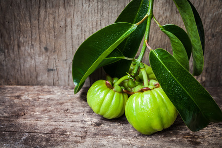 Garcinia atroviridis fresh fruit on old wood background and free form copy space. It's thai herb and sour flavor lots of vitamin C. Low key picture style. Water drops on leafs. Extract as a weight loss product. Stock Photo