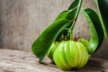 free weight: Garcinia atroviridis fresh fruit on wood background, free form copy space. Its thai herb and sour flavor lots of vitamin C. Low key style. Water drops on leafs. Extract as a weight loss product. Stock Photo