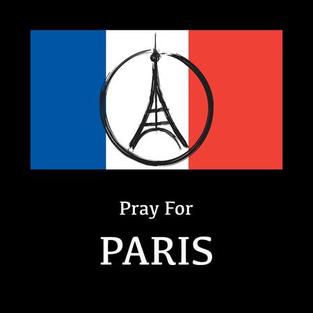Peace  at eiffel tower at background france national flag. Pray for paris. 13 November 2015. Paris horror on Friday thirteen. Terrorist attack. Pray for victims. Vector illustration. Illustration