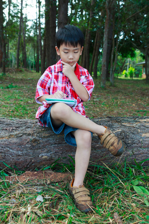 resolve: Handsome asian boy can resolve problem on wooden log in national park. Child thoughtful and writing on notebook. Outdoors in the day time with bright sunlight. Children planning and education concept. Stock Photo