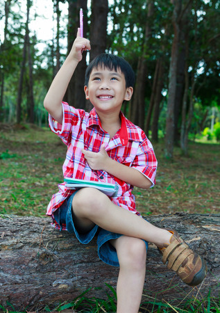 resolve: Handsome asian boy can resolve problem. Kid happy and smiling on wooden log in national park. Outdoors in the day time with bright sunlight. Children planning and education concept. Stock Photo