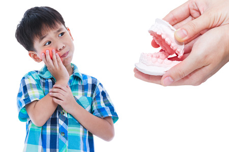 oral health: Child toothache. Asian handsome boy with oral problem. Hand human holding dental mold. Isolated on white background. Negative human emotion. Oral health concept. Studio shot.