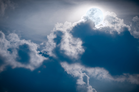 would: Attractive photo of a nighttime sky with clouds, bright full moon would make a great background.