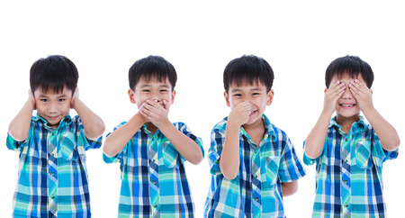 olfactory: Set of four portrait of playful asian boy covering his ear mouth nose eye in different poses. Isolated on white background. Positive human emotion, facial expression feeling reaction. Studio shot. Stock Photo